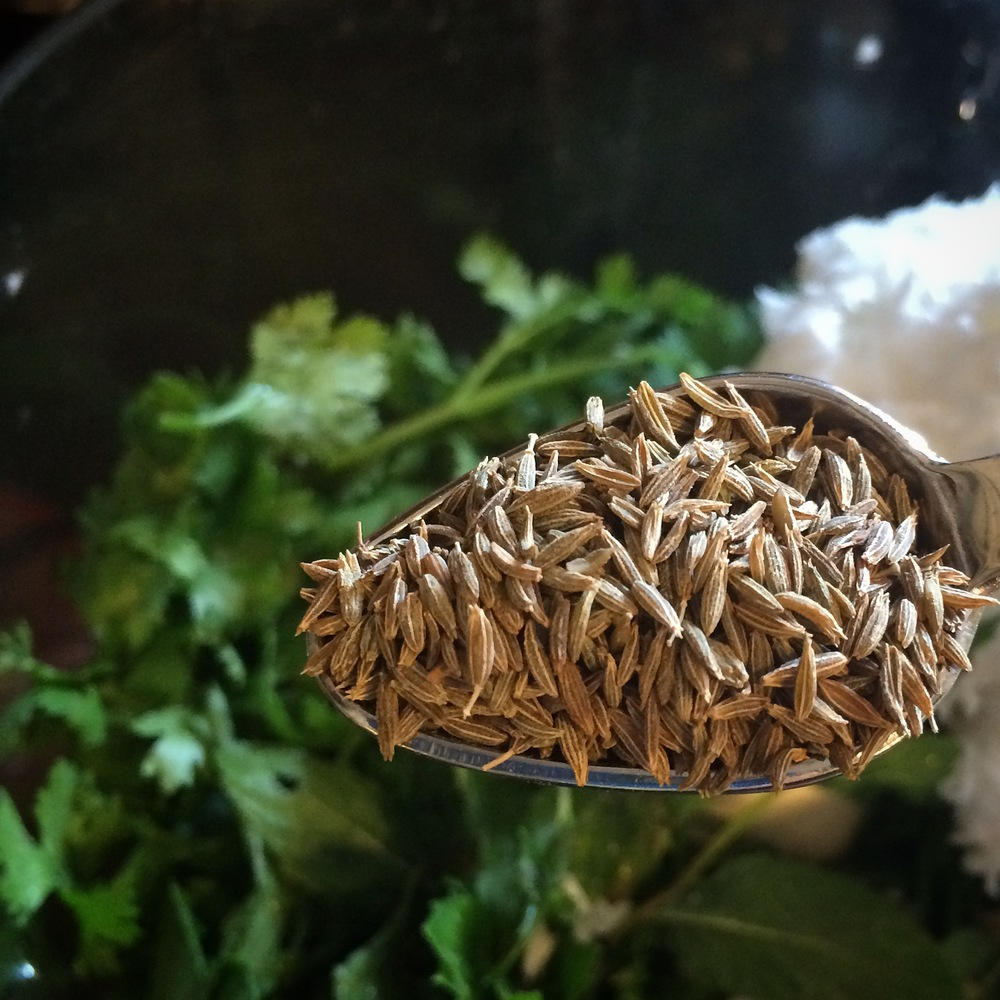 Whole cumin adds depth to the cilantro paste.