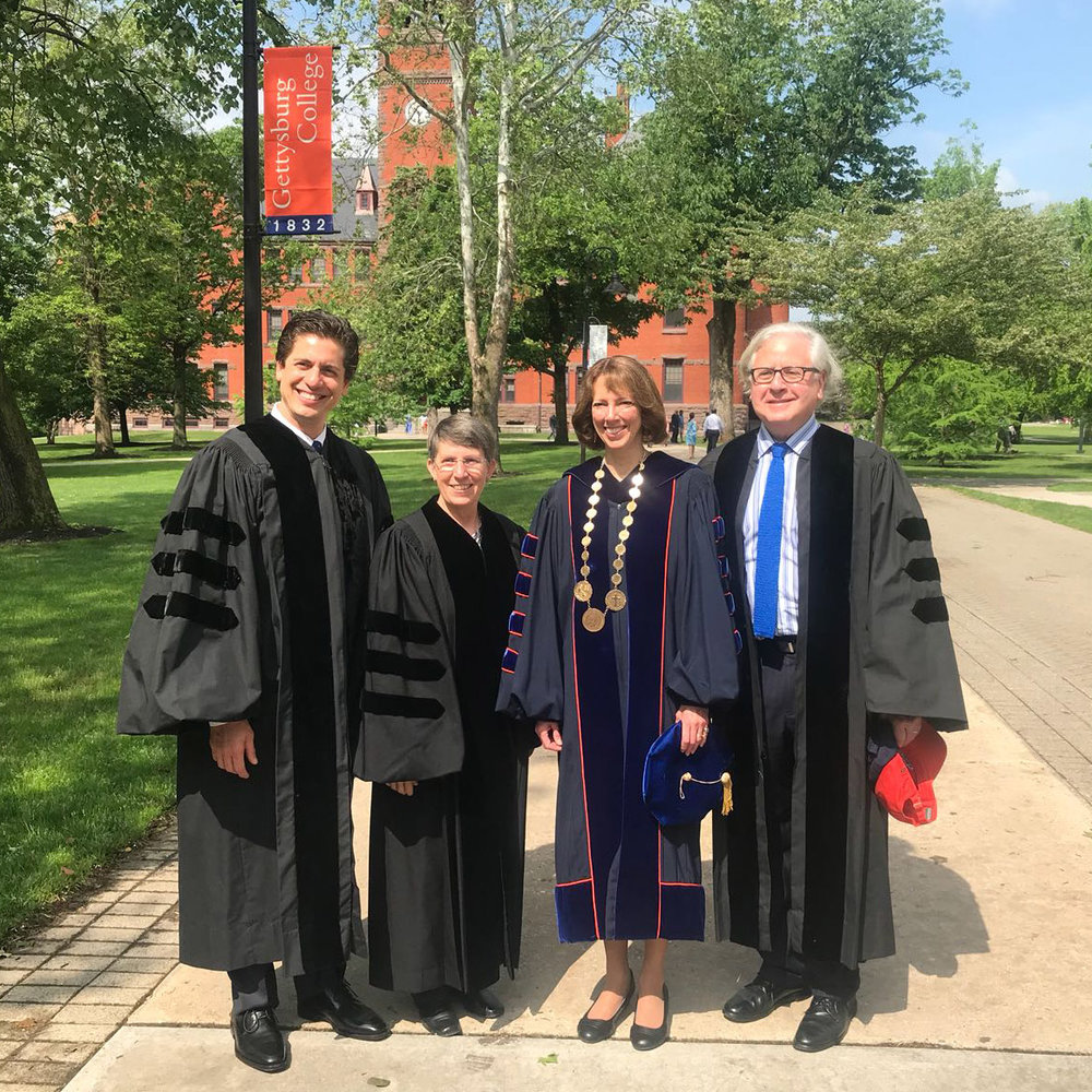 "President Janet Morgan Riggs (second from right) with (l-r) Gettysburg College Honorary Doctor of Music Francisco J. Núñez and fellow recipients - Honorary Doctor of Military Science Rebecca ""Becky"" Stevens Halstead, and Honorary Doctor of Humane Letters Howard David Fineman"