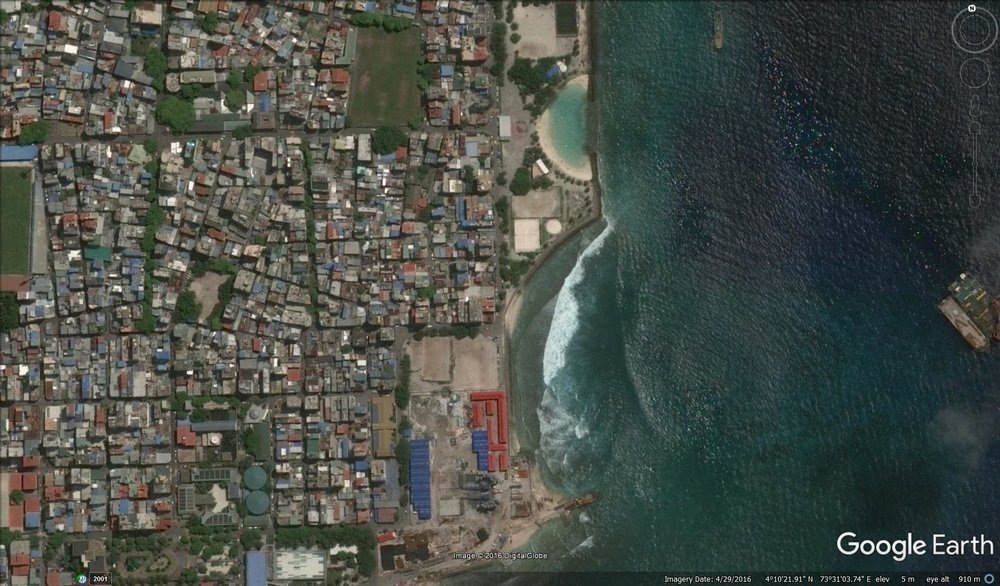 Artificial Beach and Raalhugandu from the air.  Image via Google Earth. © 2016 Digital Globe
