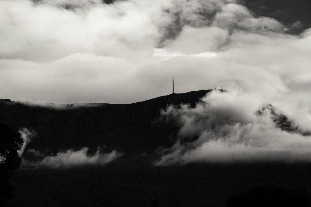 Silhouette of Kunanyi / Mt. Wellington from Hobart. Tasmania, Australia. Canon 5D MkII. (2012)