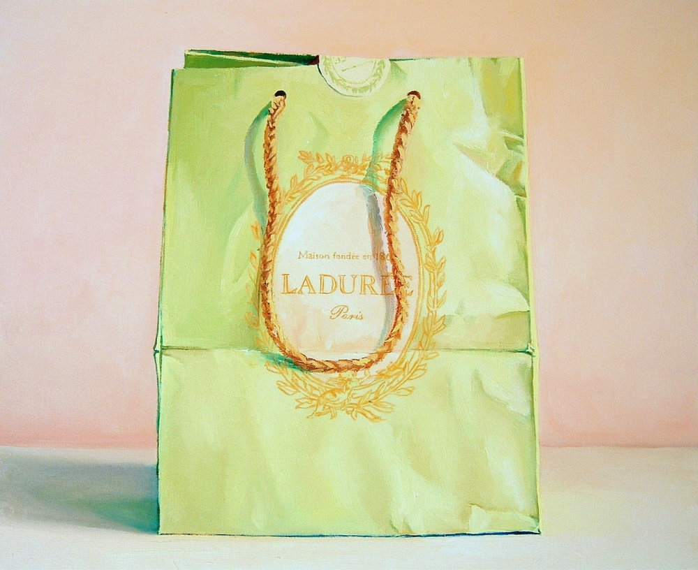 Pink and Green (Laduree Bag), oil on canvas, 20 x 24 in