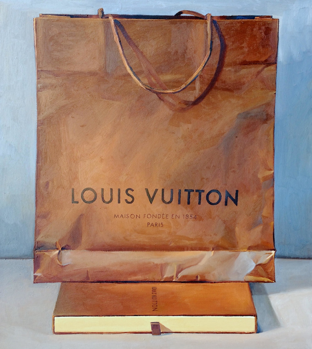 Brown and Blue (Louis Vuitton Bag), oil on canvas, 38 x 34 in
