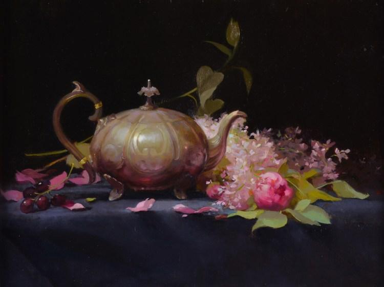 """""""Cinderella's Teapot""""oil on linen 12 x 15"""