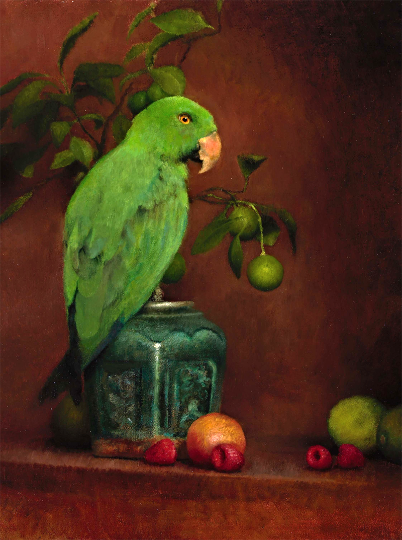 """Still Life with Green Parrot"""