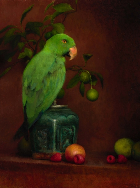 Still-Life with Green Parrot and Rasberries 46 x 35 cm, 2008.jpg