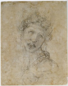 This inept chalk drawing of a woman may have been the work of Michelangelo's young friend and admirer Tommaso de' Cavalier
