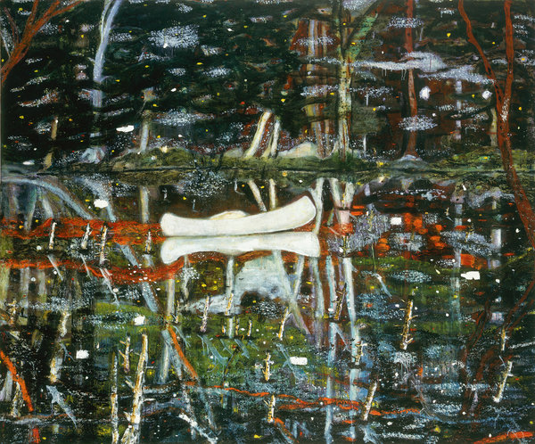 """Peter Doig's """"White Canoe"""" sold twice in two years, skyrocketing in price."""