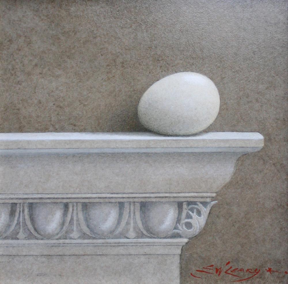 """White Egg on Irish Mantel"" by E. W. Leary"