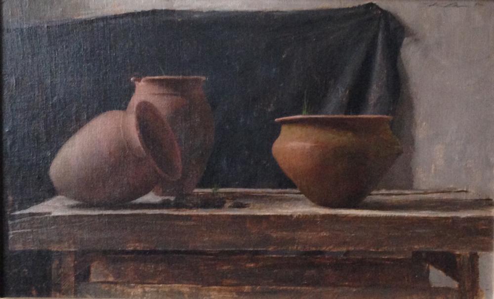 Artist: Michael Klein                     Shed Pots 16 x 21 oil on canvas