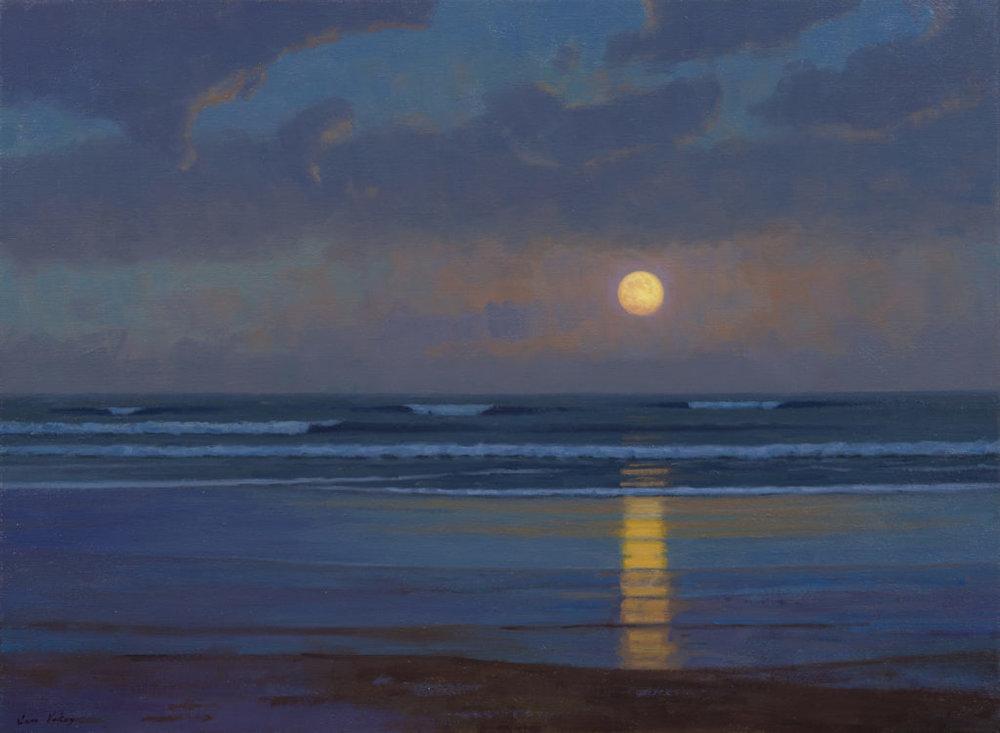 Moonrise at the Beach, Sam Vokey 22x 30 oil on canvas