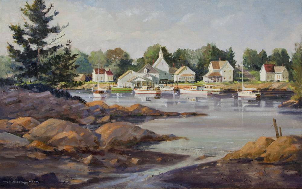 """York Harbor, ME"" by F. Kubitz 20 x 32 oil on canvas"