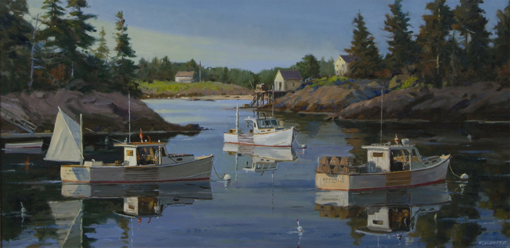 """""""Cozy Harbor at Sunset,"""" So. Port, ME by F. Kubitz 18 x 36 oil on canvas"""