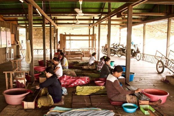 Cambodian Artisans Weaving