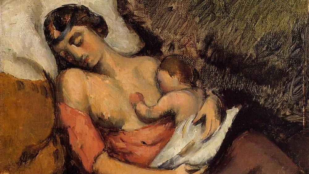 Hortense Breast Feeding Paul, Paul Cezanne, 1872