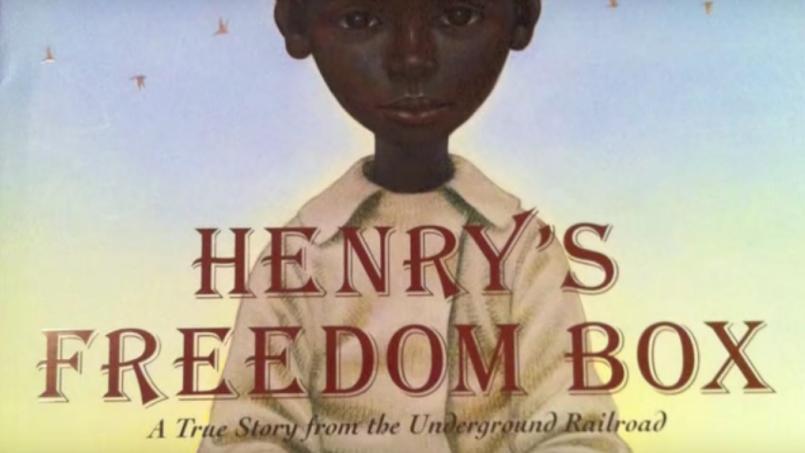 Screen capture of YouTube reading of Henry's Freedom Box. Author: Ellen Levine. Illustrator: Kadir Nelson. 2007