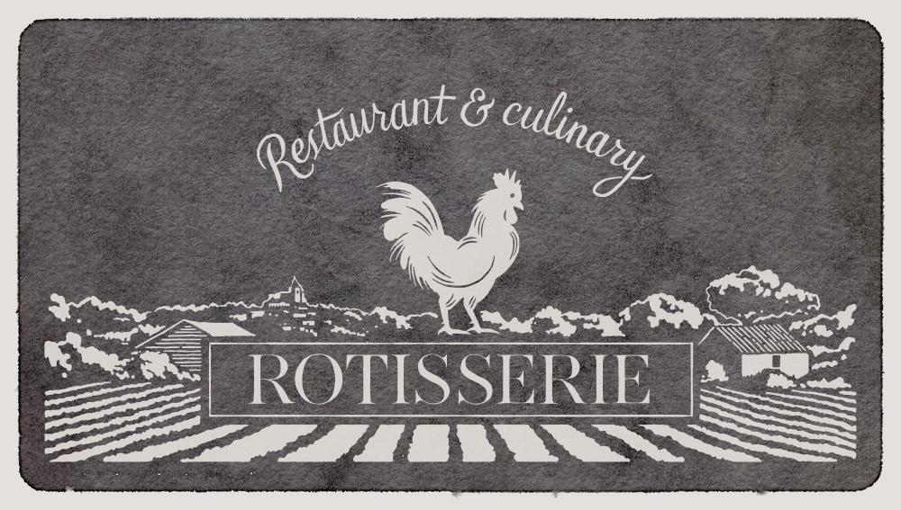 Центральная иллюстрация подчеркивает стиль прованса—логотип ресторана изображен на фоне лавандовых полей.