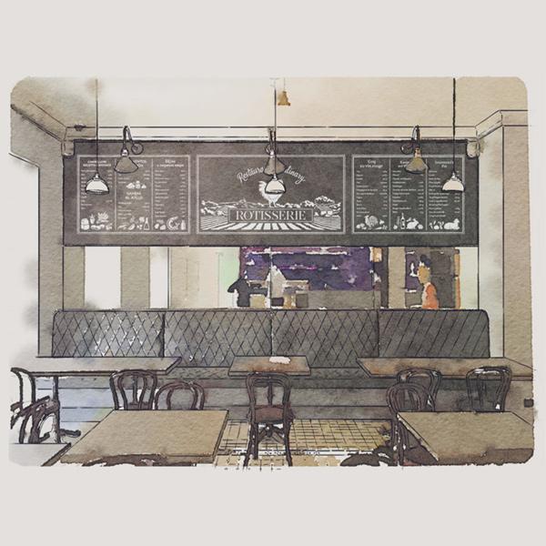 Настенные иллюстрации ресторана «Ротиссери»