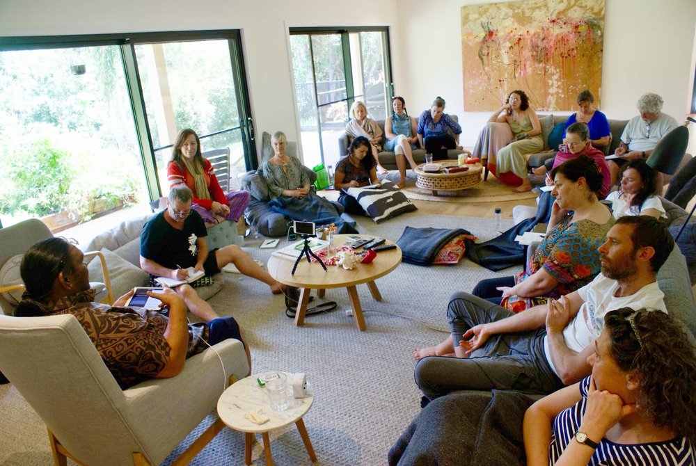 "Attentive listening to Kumu Pa'a Lawrence Aki  at the class on  ""Living the Sacred Teachings of Aloha"" in the cosy living room of Wybalena Organic Farm"