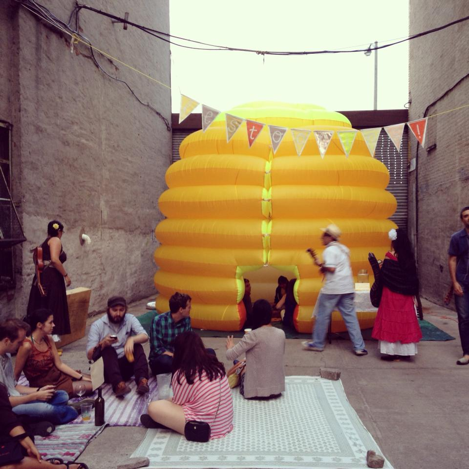 Festooning the Inflatable Beehive at  Local Roots NYC presents: THE GOOD FESTIVAL