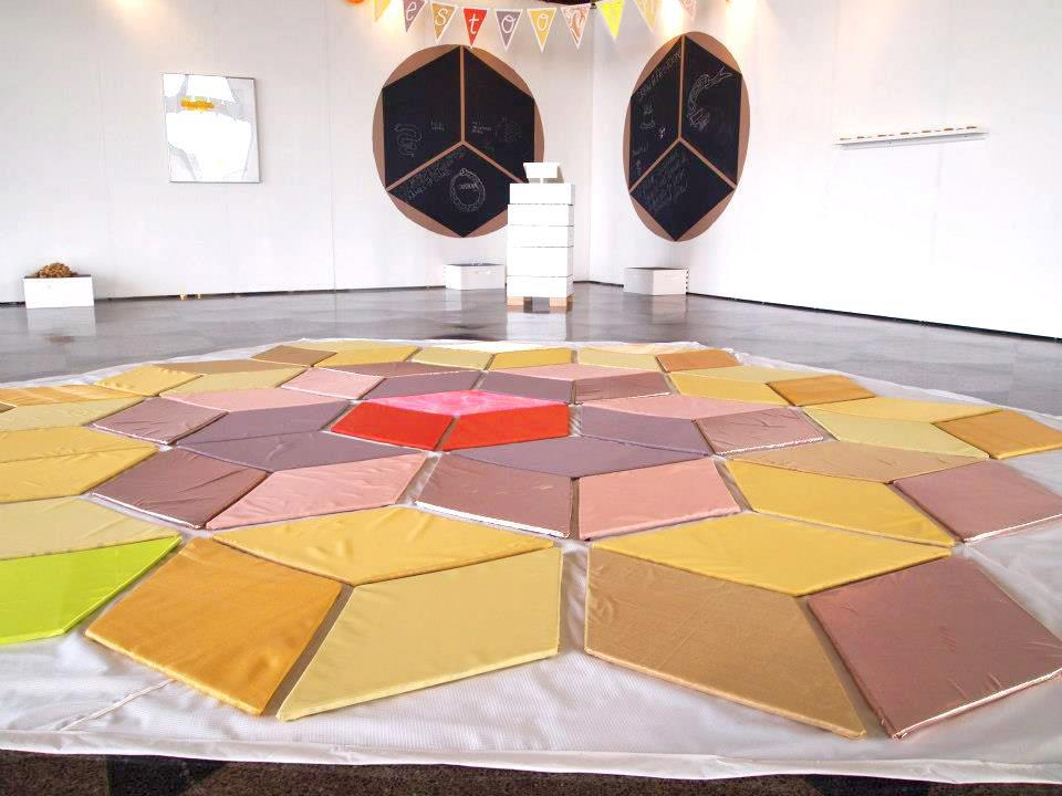 Festooning installation at System: ECOnomies at Boston Universities 808 Gallery. Curated by Photo taken by Lynne Cooney and Dana Clancy. Photo taken by Dana Clancy