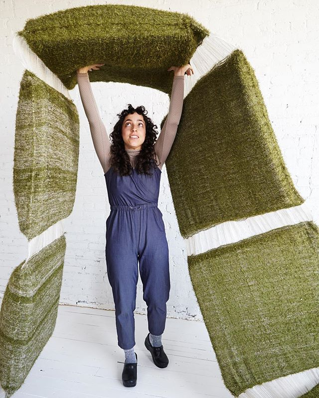 💪Playing with Folded Land at the studio 🌾 Photo by the talented @jongordon7 ! . . .  #inthestudio #foldedland #colettealiman #beanbag #chezlounge #doubleweave #handwoven #astroturf #strength #lifting #land #weaving #playing #jongordonphoto #design #furniture