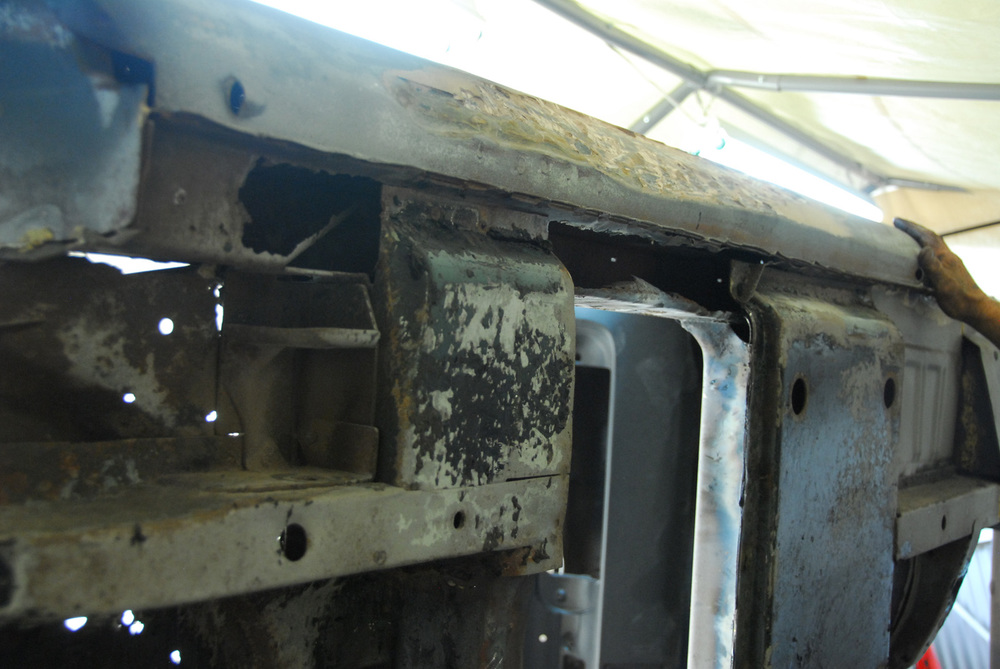A look at the damaged frame rails.