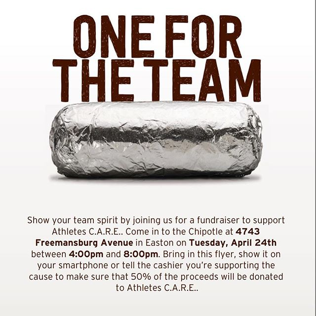 Come to Chipotle tomorrow between 4:00-8:00pm and say you support Athletes CARE! 🥙🌮🌯50% of proceeds will be given to AC!! 🌽🥑🌶 • • • Thank you @bellaalampi for setting up this FUNdraiser!!