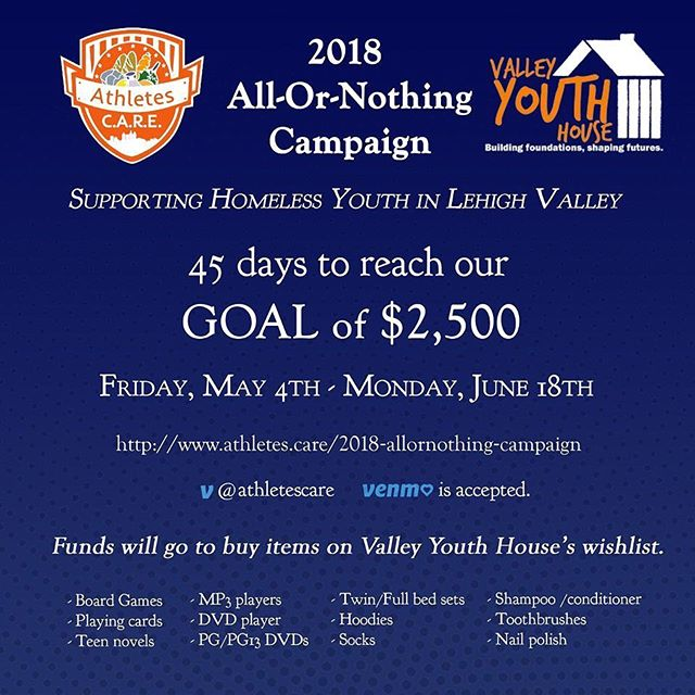 Please help us raise $2,500 for the Valley Youth House in Easton,PA! 100% of the money donated will be used to buy items on their wish list. Every Penny Counts!!!