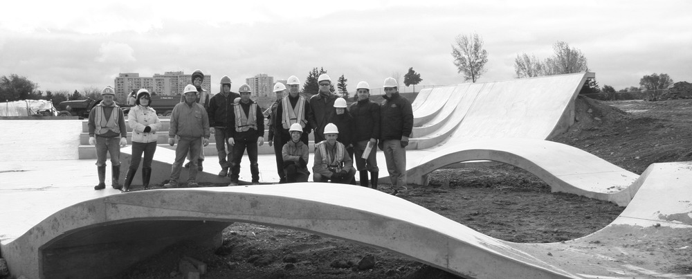 LANDinc on site with specialty contractors for the construction of Chinguacousy skatepark.