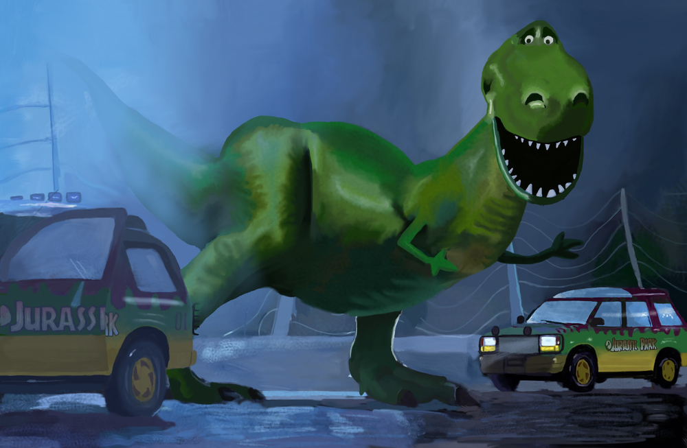 Throw Jurassic Park and Toy Story in a blender, and here's what you get. iPad painting with AutoDesk app.
