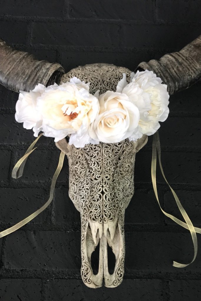 bridal flower crown boho rustic on cow skull