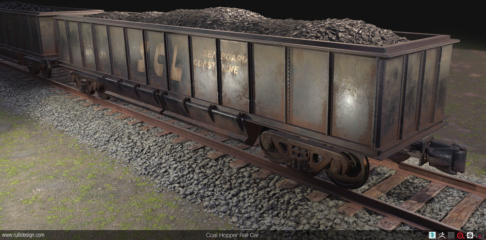 Rail car and rails were modeled in 3ds Max and detailed in Zbrush, then baked and textured in Substance Painter  Ground material generated procedurally in Substance Designer  Coal modeled in Zbrush then textured in Substance Designer  Rail ties and gravel modeled in Zbrush and textured in Quixel  Final scene in Marmoset Toolbag 3