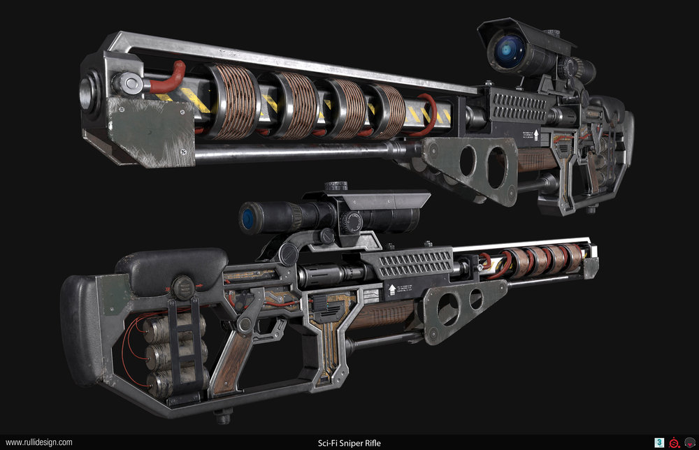 Modeled in 3ds Max. Baked and textured in Substance Painter, and rendered in Marmoset Toolbag 3. Circuit board innards were baked and tuned in Knald.