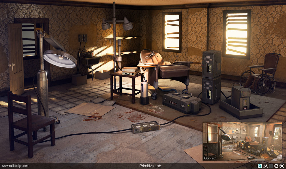Primitive lab, based on a concept from Assassin's Creed 2 by  Nicolas Ferrand .  Everything modeled first in 3ds Max, then some props brought into Zbrush for a detail/damage pass. Materials created in Quixel and Knald. Scene created and rendered in Unreal Engine 4.