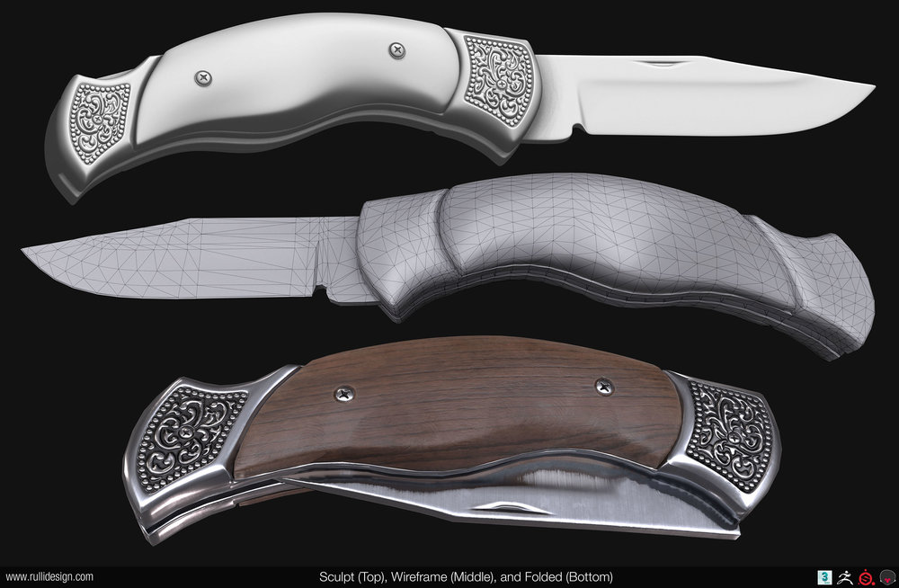 Found some reference for this while shopping for groomsmen gifts. I went with higher quality knives, but I still like the look of this one.  Modeled in 3ds Max, then dynameshed in Zbrush to add more detail to the ornate sections. Baked and textured in Substance Painter, then rendered in Marmoset Toolbag 3.