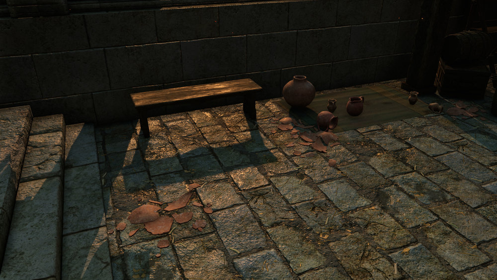Terracotta pots and bench both created in 3ds Max. Pot is textured with my Substance, and bench is reusing tiling wood from the scene, but with a custom blend mask painted in Substance Painter.