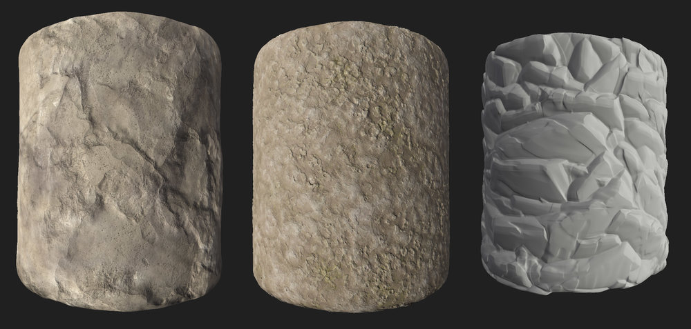 Substance Designer renders of tiling materials used in the two levels shown here. Some of these were combined with others through Unreal shaders for vertex blending or a combined macro and micro surface.
