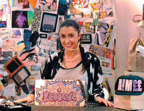 Aimee Kestenberg showed off her completed handbag at the end of the competition.