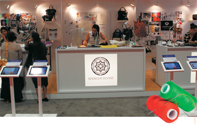 Each handbag designer had her own 8-by-8-foot workspace in American Express Open's exhibit at Magic Market Week.