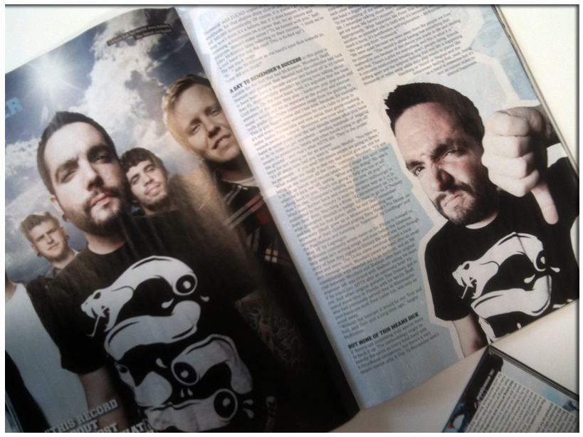 "ADTR hits the cover of the latest issue of ROCK SOUND. Multipage article and centerfold featuring singer Jeremy McKinnon and crew repping the new HOTLIFE ""Join or Die"" Tee and discussing the new album What Separates Me From You. Stoked to see a great group of musicians and great friends getting recognition. The new album is awesome, and features the best packaging and artwork and best music. Although I must admit a slight bias, especially since I created the album booklet artwork and layout :)"