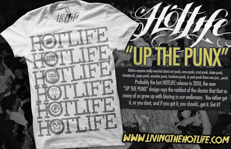 "Just released the new HOTLIFE ""Up the Punx"" design a few days ago. One of the best HL designs hands down. Reppin 7 of the classic on one sweet HL tee. If you care about punk or hardcore at all, you'll be into it."