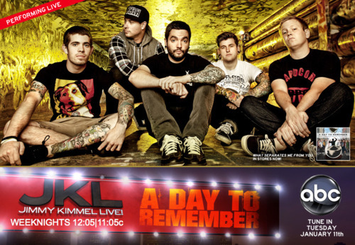 Tonight, Jimmy Kimmel Live! check out our brothers in A Day To Remember making their first mainstream television appearance! Dudes may even be reppin some new HOTLIFE gear! Gonna be awesome. Midnight on ABC! Historical stuff here.    http://abc.go.com/shows/jimmy-kimmel-live     http://www.livingthehotlife.com