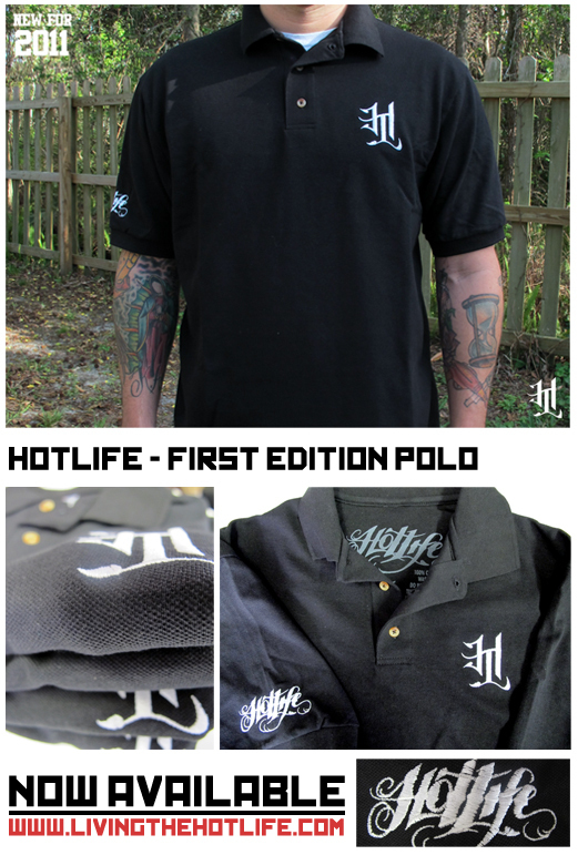 Literally releasing this and two other designs RIGHT NOW!   This is the first edition HOTLIFE polo.    The absolute highest quality preshrunk cotton and tightest stitching featuring two embroidered designs… the HL emblem AND classic script on sleeve. We always go all out, and you'll find this is perfect for any occasion. Sharp enough for day to day, AND big events. Get into it!
