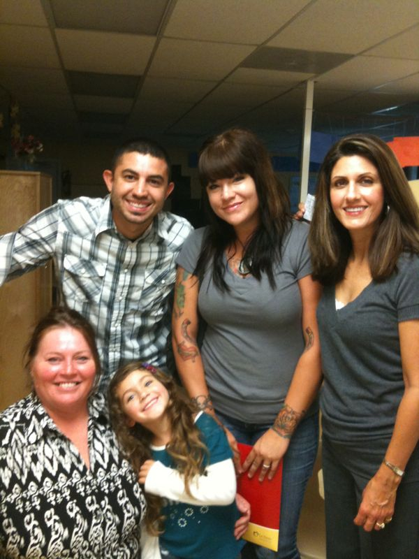 Open house at kaylahs first school. First time away from me. It's scary but she's got a great teacher. The picture is me, kays mom, my mom, and then Kay and her new teacher.