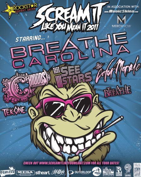 HOTLIFE is sponsoring the Scream It Like You Mean It Tour 2011. For those seasoned HOTLIFE /MCHC art fans, you're right I did design the tour poster, but also the tour shirts, stage set ups, etc, so i'll definitely be a sight to see. Its gonna be all over the US, features some pretty rad bands, and should be an awesome time. Get into it!  www.screamitlikeyoumeanit.com  &  www.livingthehotlife.com