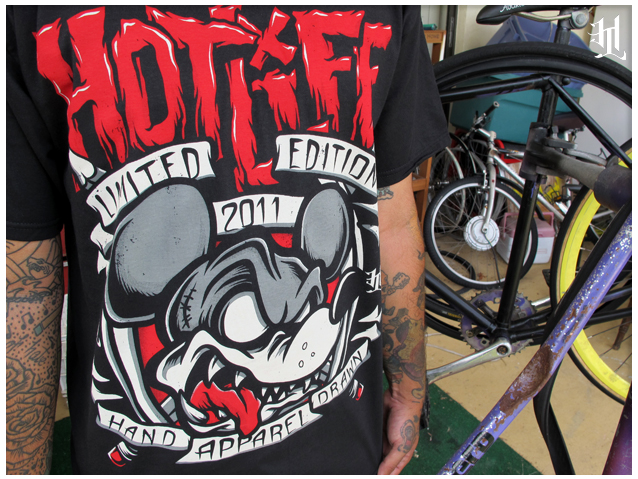 "Check out the ""2011 Limited Edition Rat"" design, comes with a free poster and all orders this weekend get wristbands! All discharge/waterbased ultra soft specialty printing. Sooo rad!  www.livingthehotlife.com"