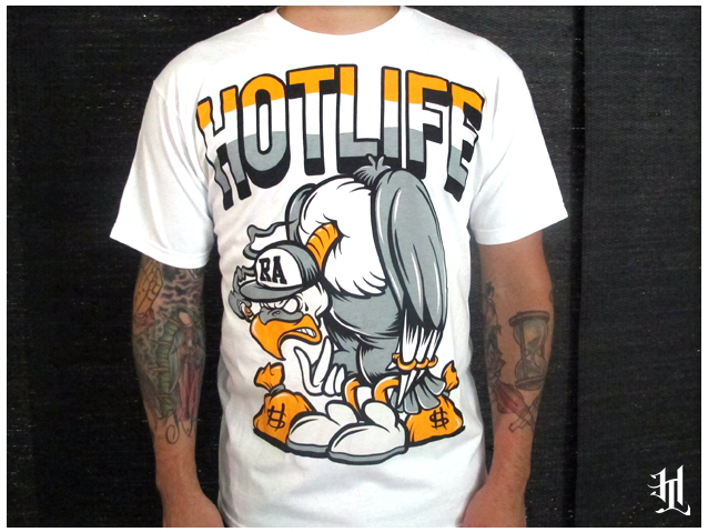 "The HOTLIFE x RUCKUS ""Vulture Rock"" Collab T. This is our second collab with our midwest brothers at Ruckus Apparel. Features our classic mascot style vulture cashin checks n breakin necks. The artwork is ultraclean and the colors are smooth as you can get. Pick up the HOTLIFE version at www.livingthehotlife.com and then check out the RUCKUS version at www.ruckusapparel.com"