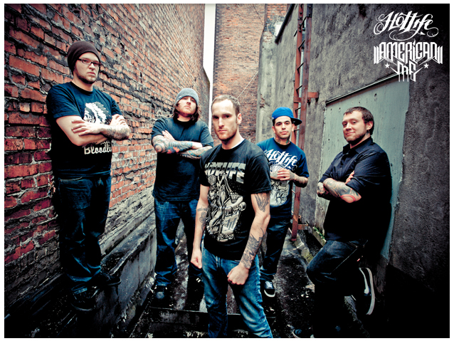"Check out our brothers in American Me reppin HOTLIFE in their new promo pics. They are one of the hardest working/heaviest bands in the industry and Ive been designing for em for a years so naturally theyve become part of the HOTLIFE family. Check out their FB page at: http://www.facebook.com/AmericanMe503 Theyre currently working on a new album titled ""3"" which will be released May 2012 on Rise Records. Much love!"