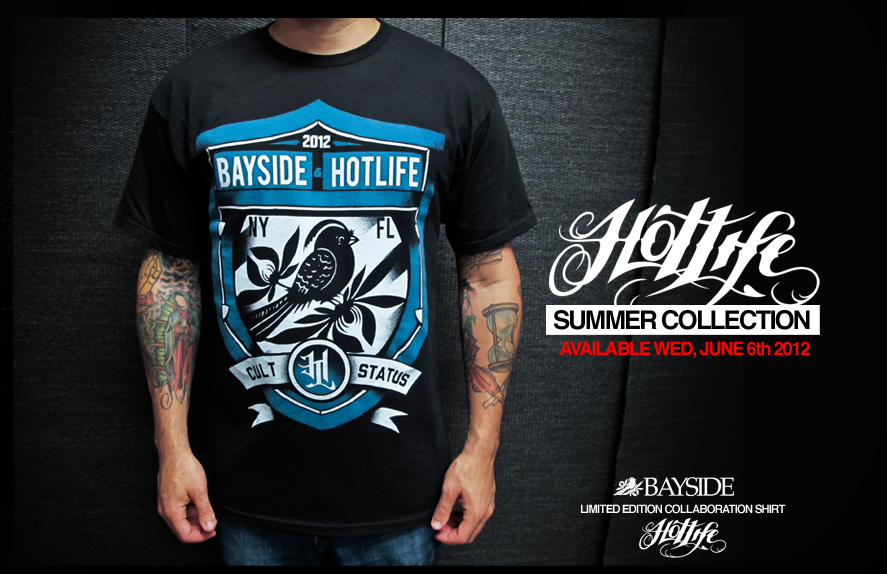 Heres a peek at our upcoming release, limited HOTLIFE x BAYSIDE collab! If you like us, or if you like them, or if you like original independent clothing companies… tell a friend or reblog it. Thanks everyone.