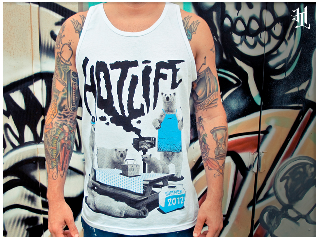 "Setting up for the new releases, and I came across some limited HL ""POLAR PARTY"" tanks in S. Pick one up now! Once its gone its gone! http://hotlife.bigcartel.com/product/brand-new-hotlife-polar-party-tank-top"